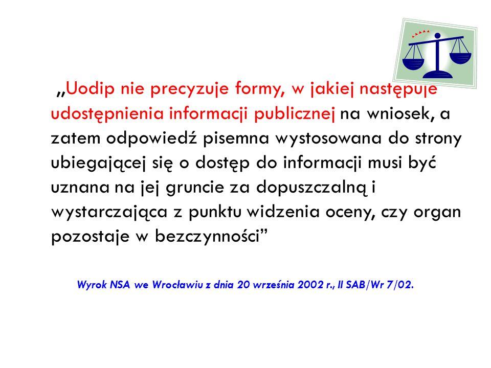 Wyrok NSA we Wrocławiu z dnia 20 września 2002 r., II SAB/Wr 7/02.