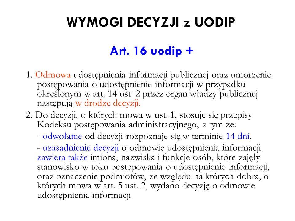 WYMOGI DECYZJI z UODIP Art. 16 uodip +