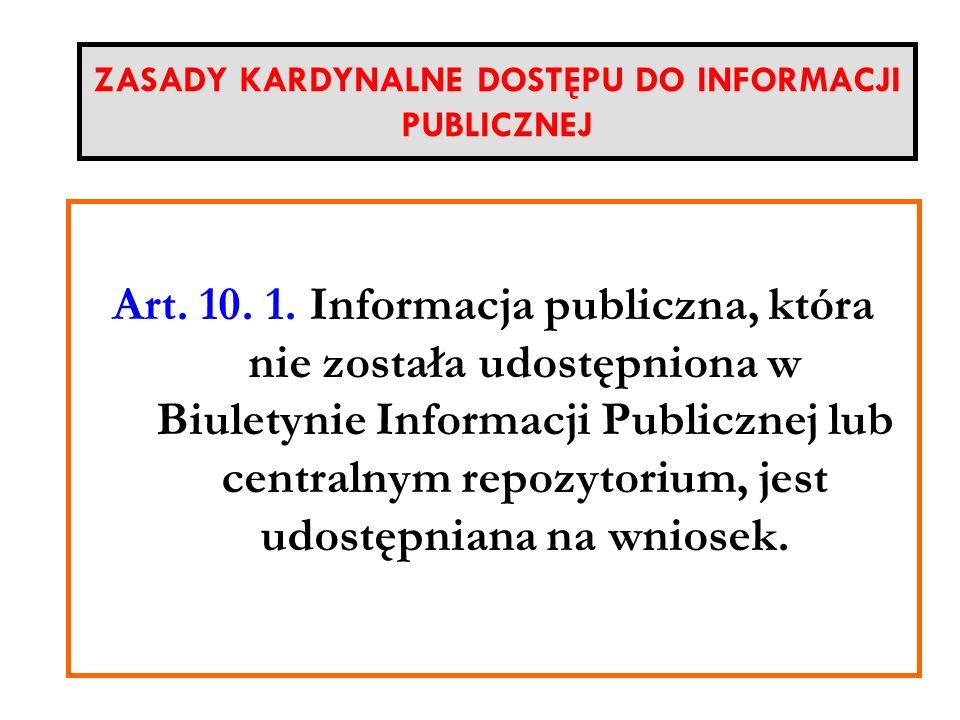 ZASADY KARDYNALNE DOSTĘPU DO INFORMACJI PUBLICZNEJ
