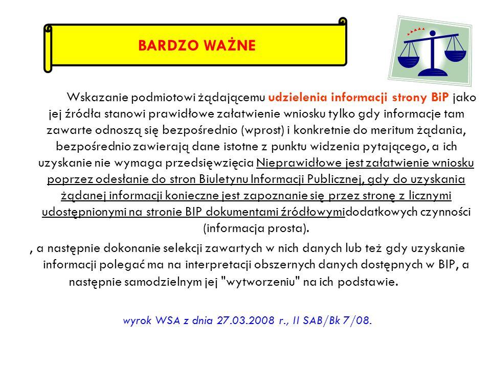 wyrok WSA z dnia 27.03.2008 r., II SAB/Bk 7/08.
