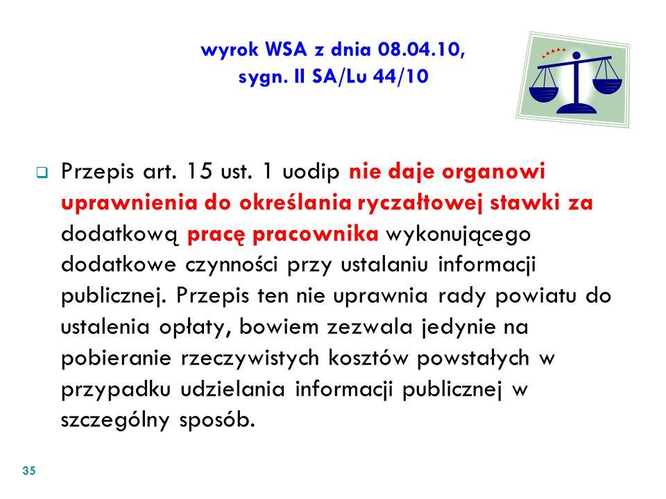 wyrok WSA z dnia 08.04.10, sygn. II SA/Lu 44/10