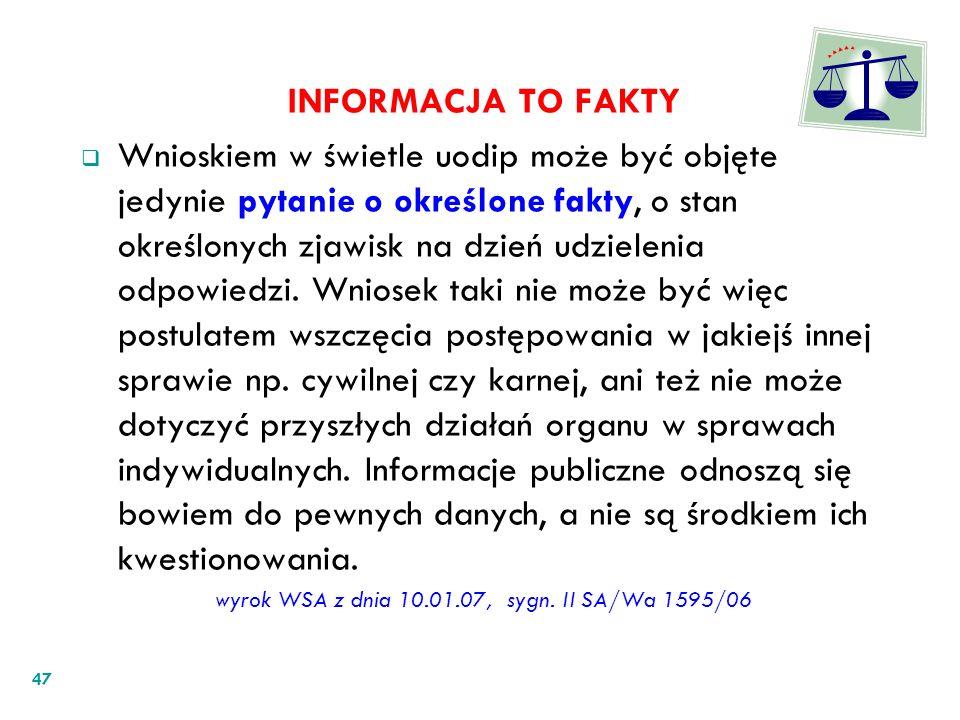 wyrok WSA z dnia 10.01.07, sygn. II SA/Wa 1595/06