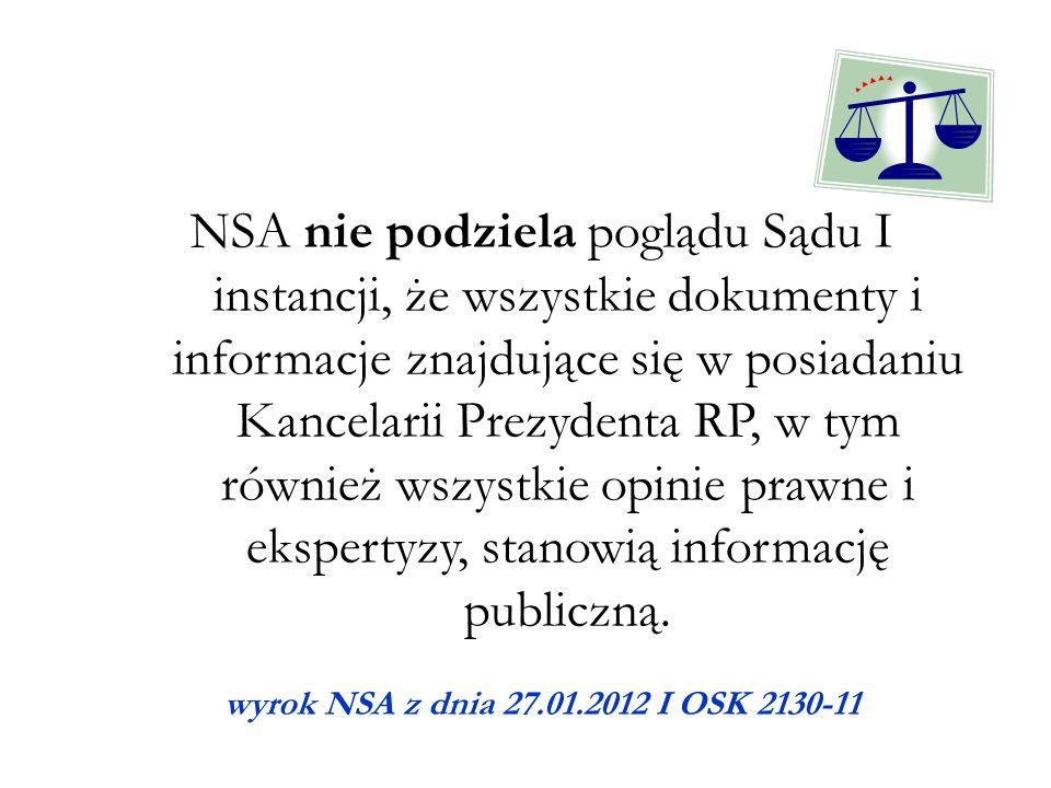 NSA nie podziela poglądu Sądu I instancji, że wszystkie dokumenty i informacje znajdujące się w posiadaniu Kancelarii Prezydenta RP, w tym również wszystkie opinie prawne i ekspertyzy, stanowią informację publiczną.