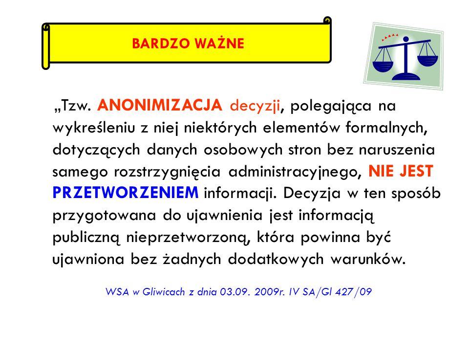 WSA w Gliwicach z dnia 03.09. 2009r. IV SA/Gl 427/09