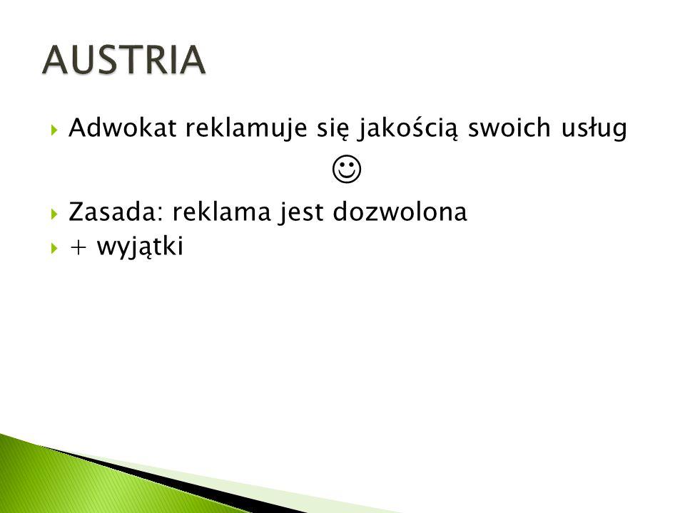 AUSTRIA  Adwokat reklamuje się jakością swoich usług