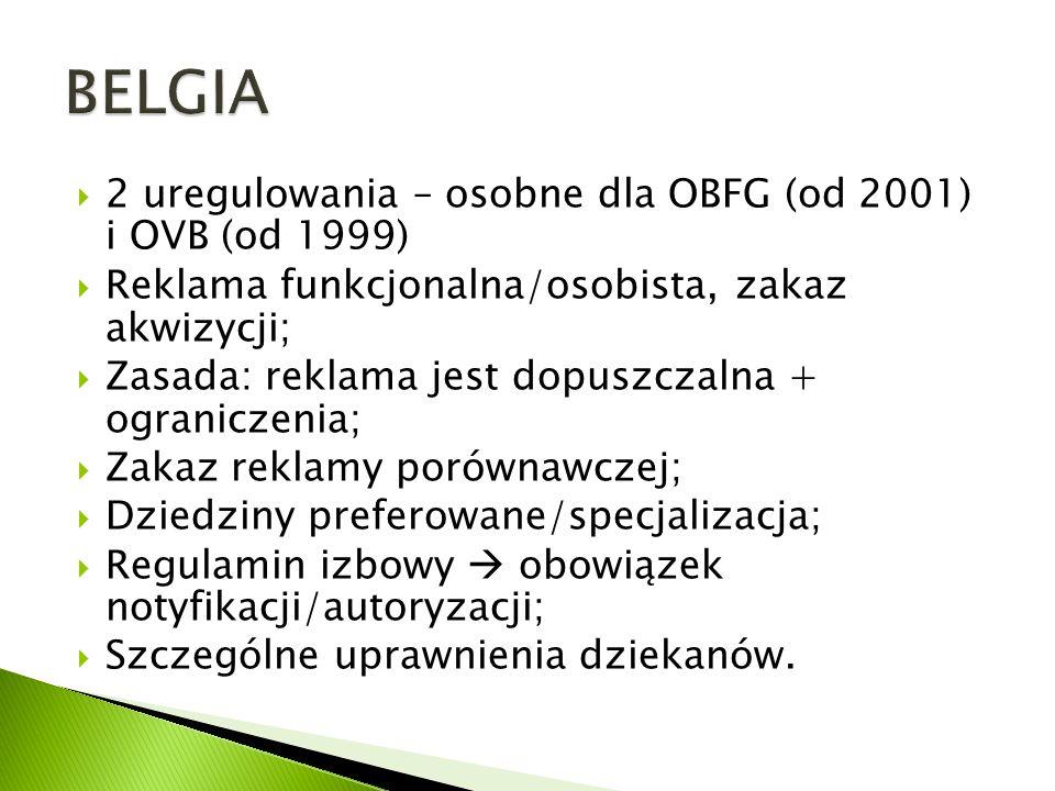 BELGIA 2 uregulowania – osobne dla OBFG (od 2001) i OVB (od 1999)