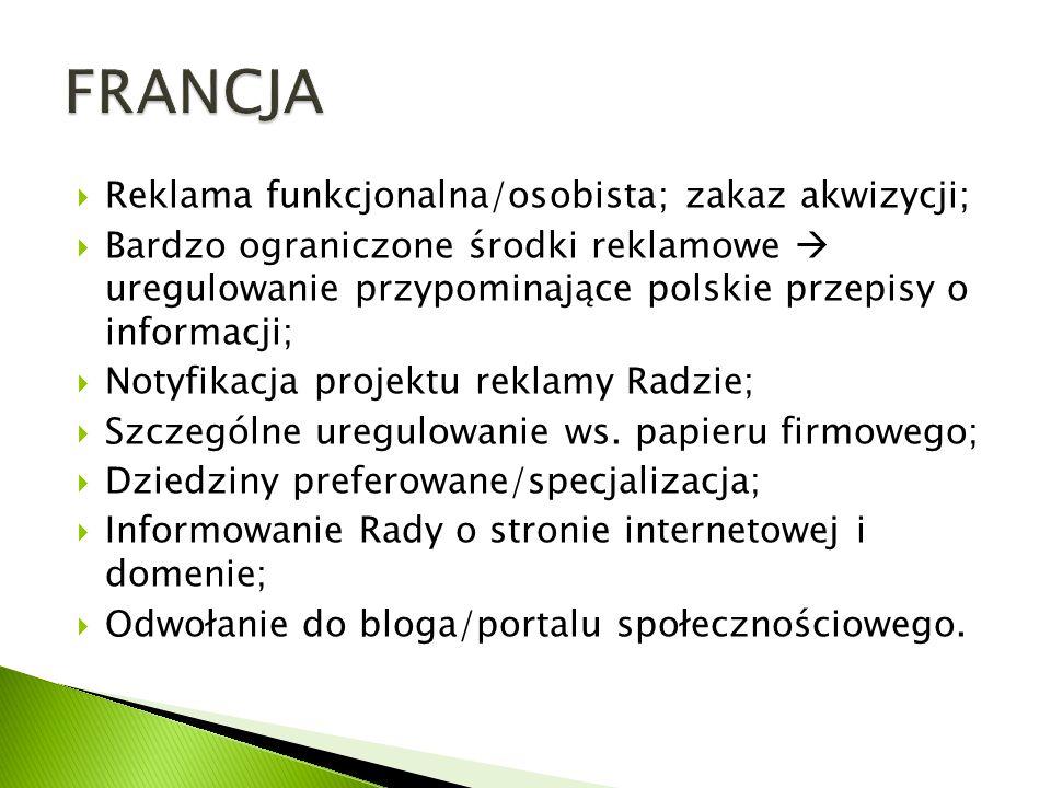 FRANCJA Reklama funkcjonalna/osobista; zakaz akwizycji;