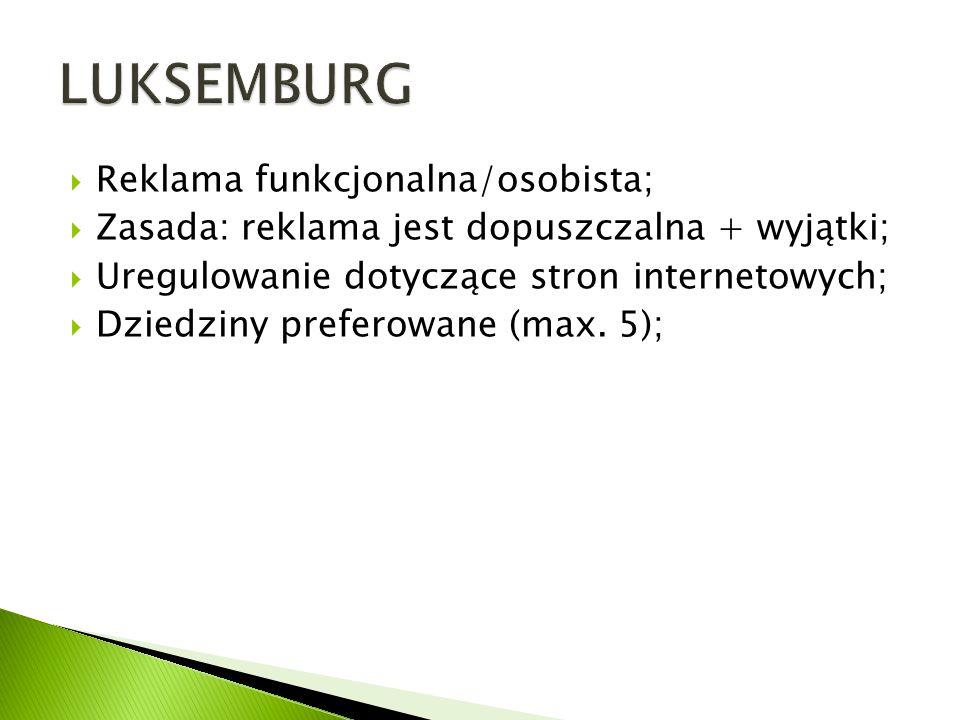 LUKSEMBURG Reklama funkcjonalna/osobista;