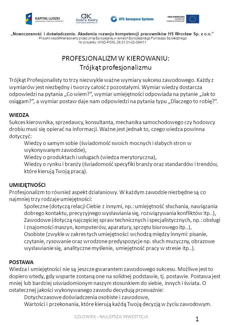 PROFESJONALIZM W KIEROWANIU: Trójkąt profesjonalizmu