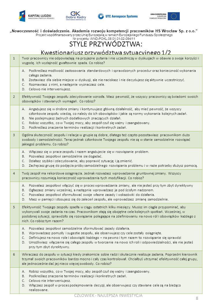 STYLE PRZYWÓDZTWA: Kwestionariusz przywództwa sytuacyjnego 1/2