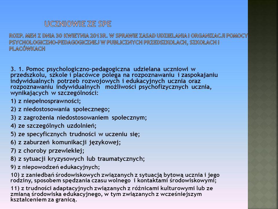 Uczniowie ze SPE Rozp. MEN z dnia 30 kwietnia 2013r