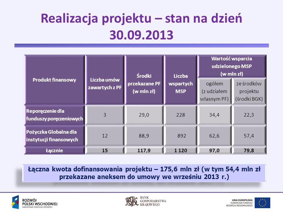 Realizacja projektu – stan na dzień 30.09.2013