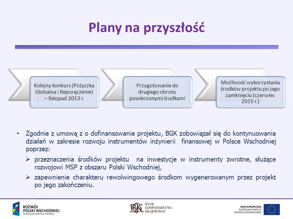 Plany na przyszłość Kolejny konkurs (Pożyczka Globalna i Reporęczenie) – listopad 2013 r. Przygotowanie do drugiego obrotu powierzonymi środkami.