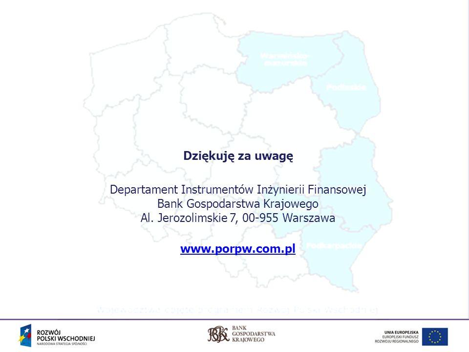Dziękuję za uwagę Departament Instrumentów Inżynierii Finansowej Bank Gospodarstwa Krajowego Al. Jerozolimskie 7, 00-955 Warszawa.