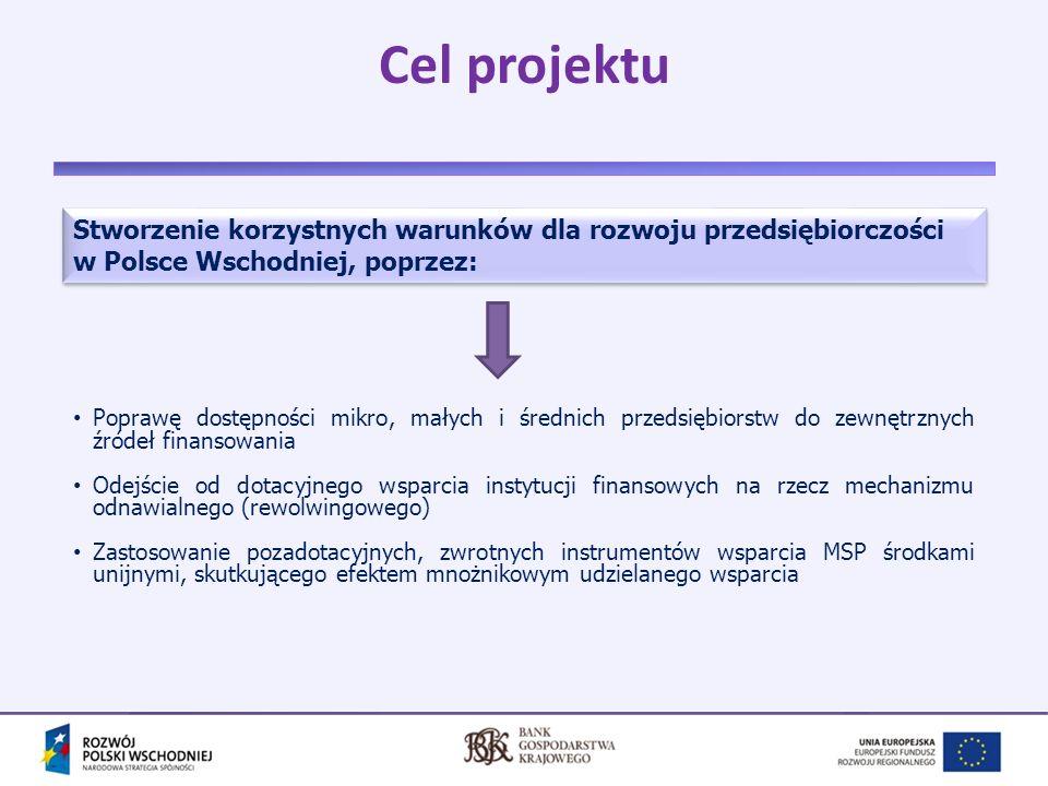 Cel projektu Stworzenie korzystnych warunków dla rozwoju przedsiębiorczości w Polsce Wschodniej, poprzez: