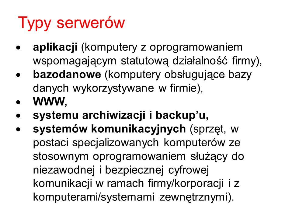 Typy serwerów aplikacji (komputery z oprogramowaniem wspomagającym statutową działalność firmy),