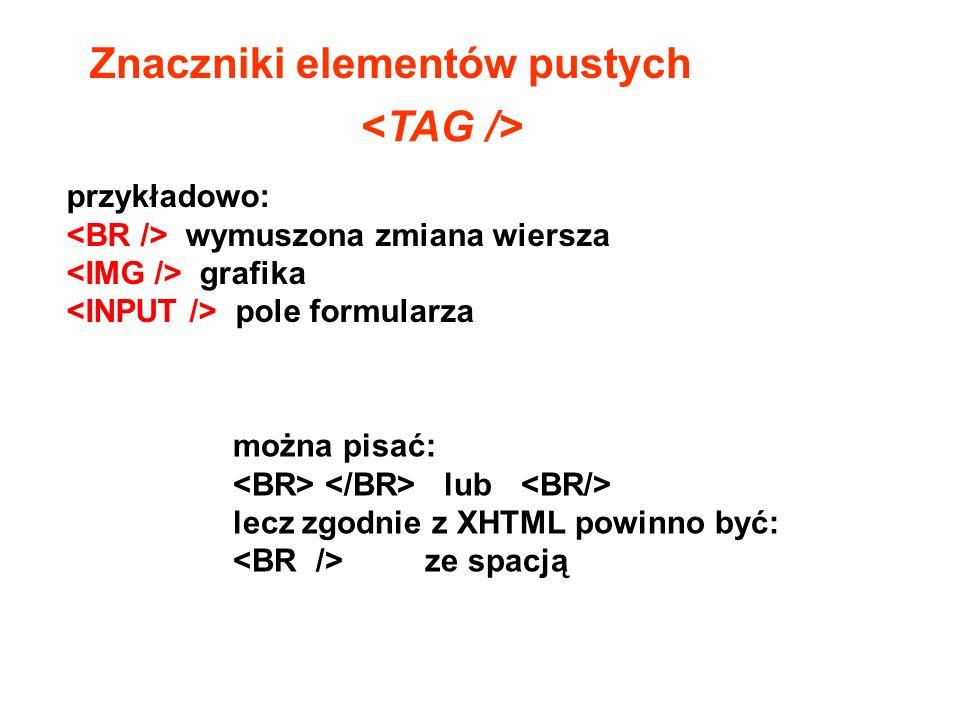 Znaczniki elementów pustych <TAG />