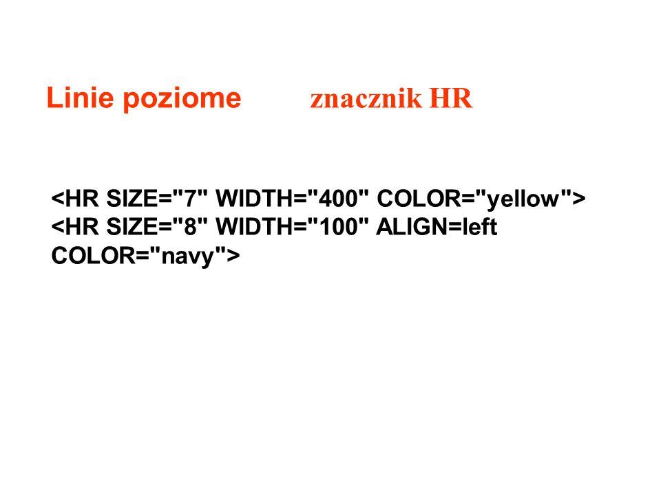 Linie poziome znacznik HR