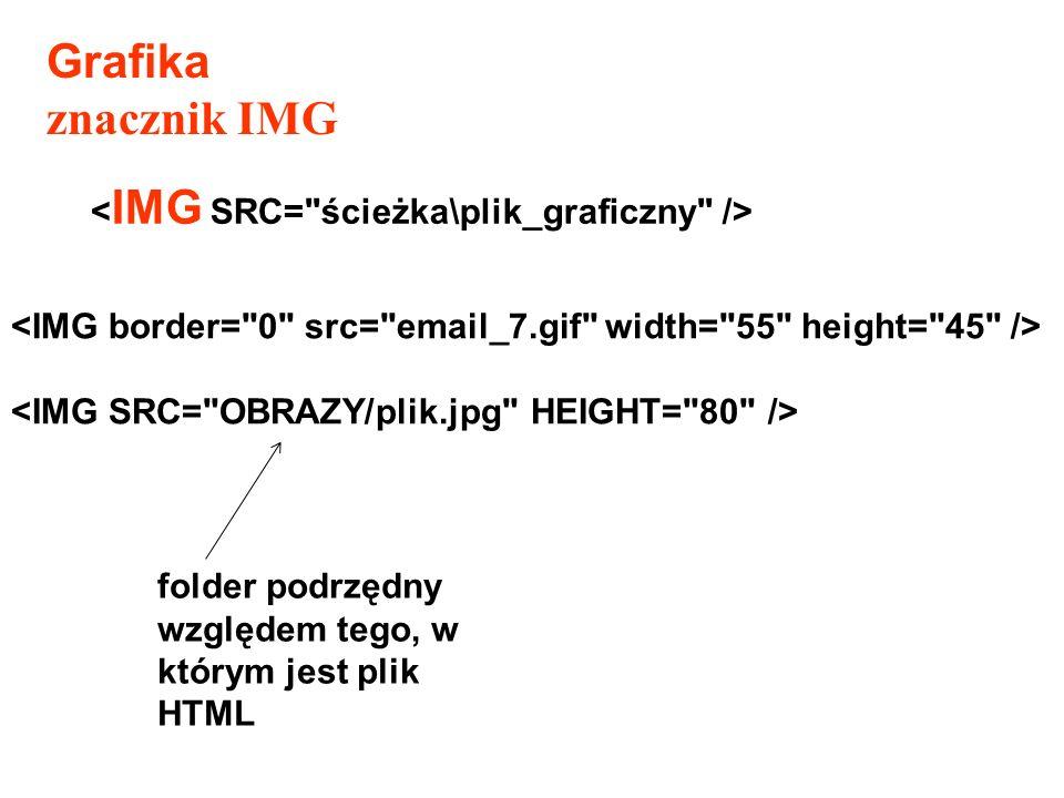 Grafika znacznik IMG <IMG SRC= ścieżka\plik_graficzny />