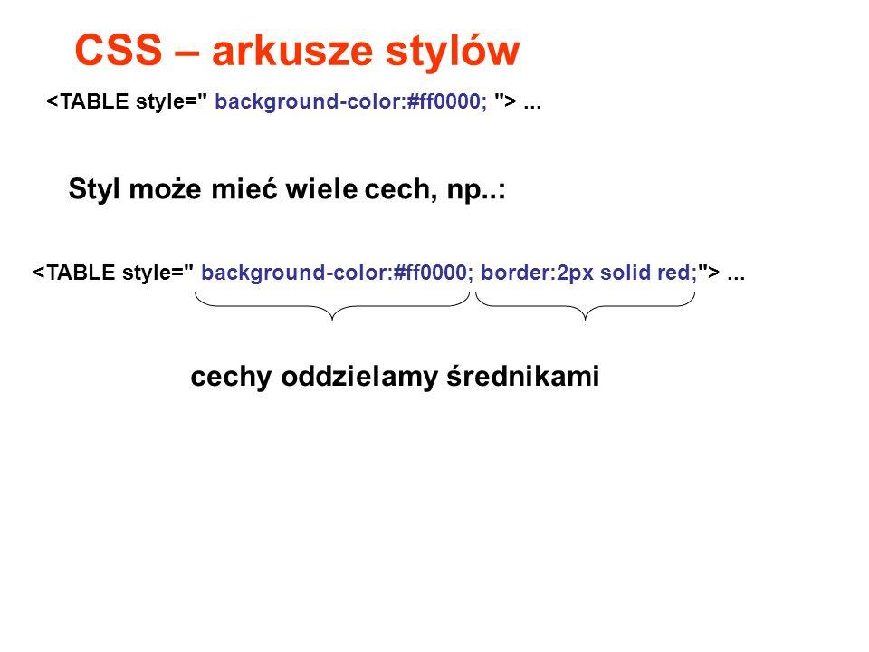 CSS – arkusze stylów Styl może mieć wiele cech, np..: