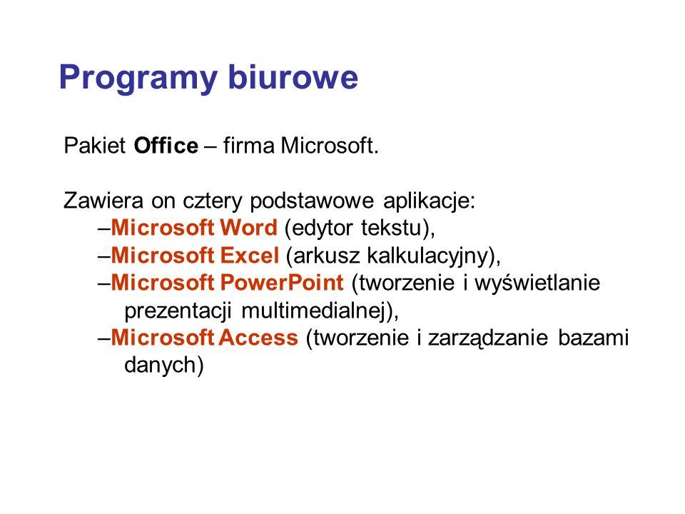 Programy biurowe Pakiet Office – firma Microsoft.