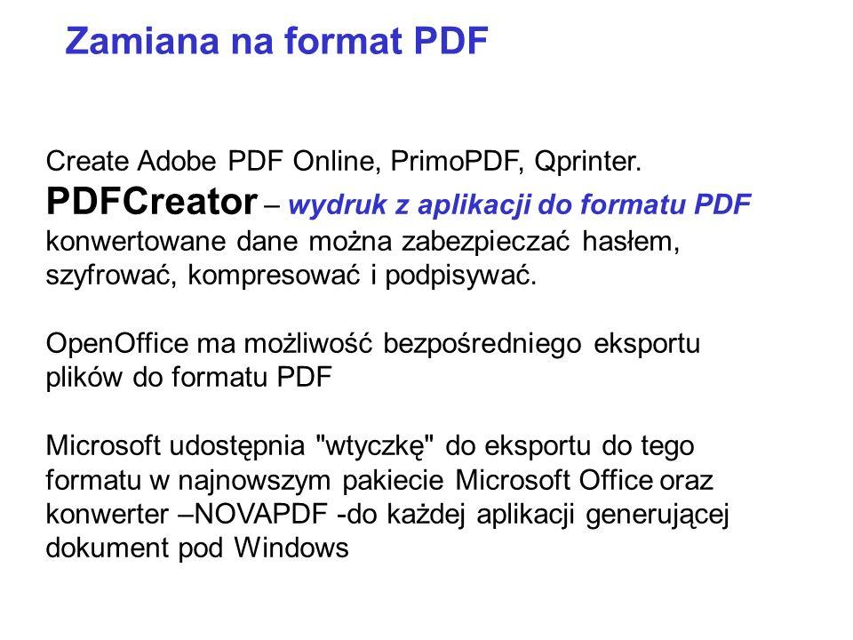 PDFCreator – wydruk z aplikacji do formatu PDF