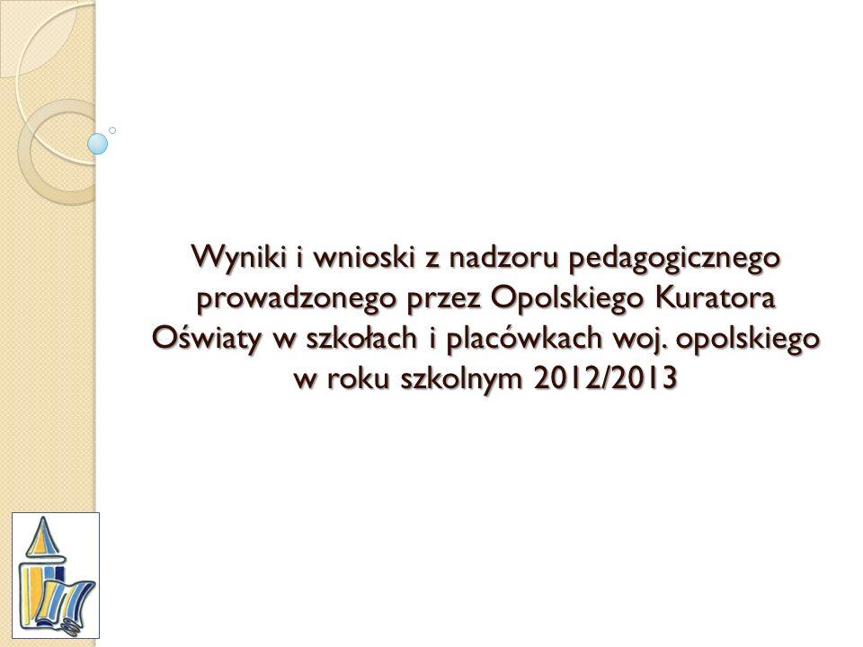 Wyniki i wnioski z nadzoru pedagogicznego prowadzonego przez Opolskiego Kuratora Oświaty w szkołach i placówkach woj.