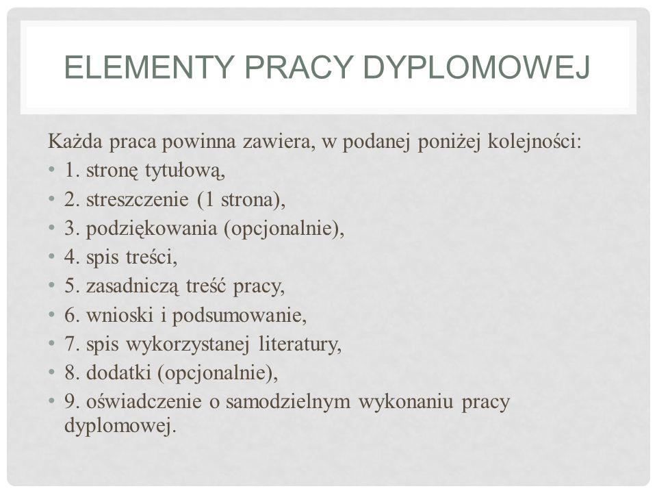 Elementy pracy dyplomowej