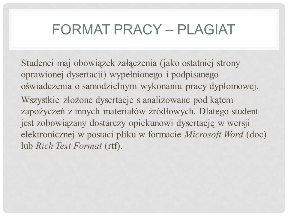 Format pracy – plagiat