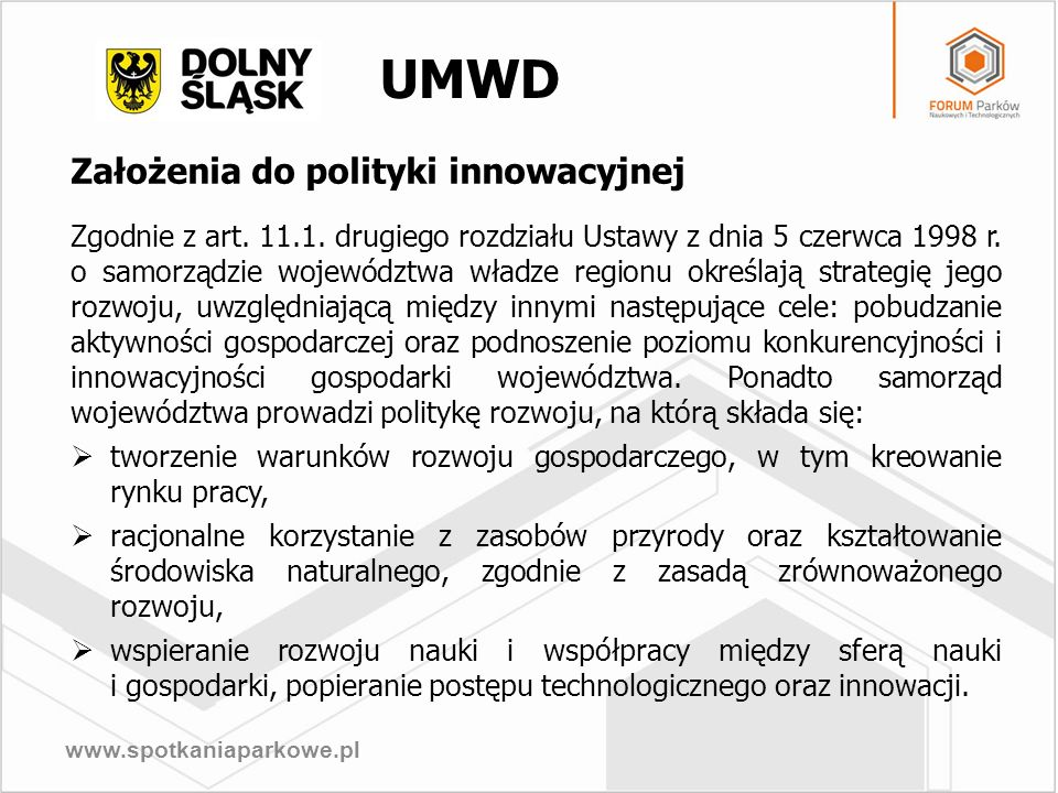 UMWD Założenia do polityki innowacyjnej