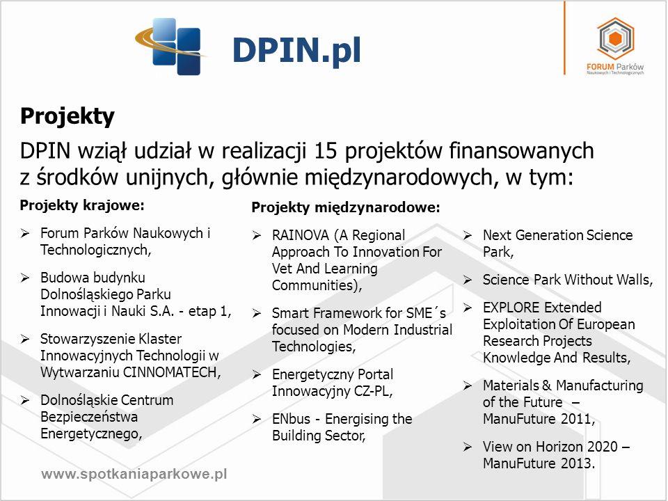 DPIN.pl Projekty. DPIN wziął udział w realizacji 15 projektów finansowanych z środków unijnych, głównie międzynarodowych, w tym: