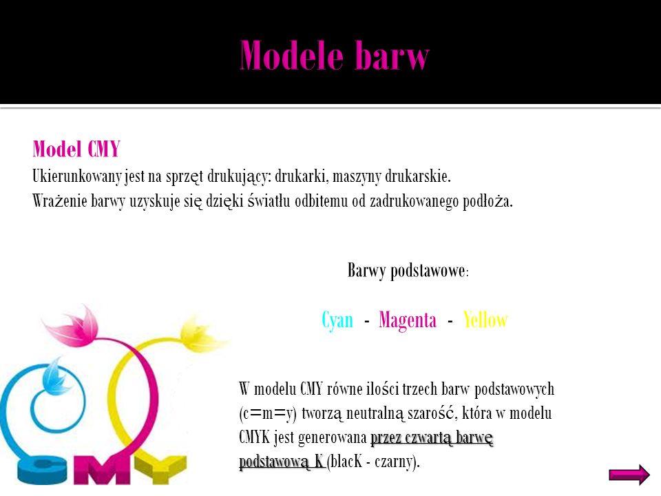 Modele barw Model CMY Cyan - Magenta - Yellow Barwy podstawowe: