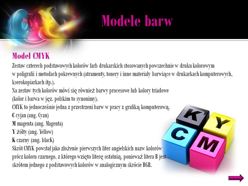 Modele barw Model CMYK. Zestaw czterech podstawowych kolorów farb drukarskich stosowanych powszechnie w druku kolorowym.