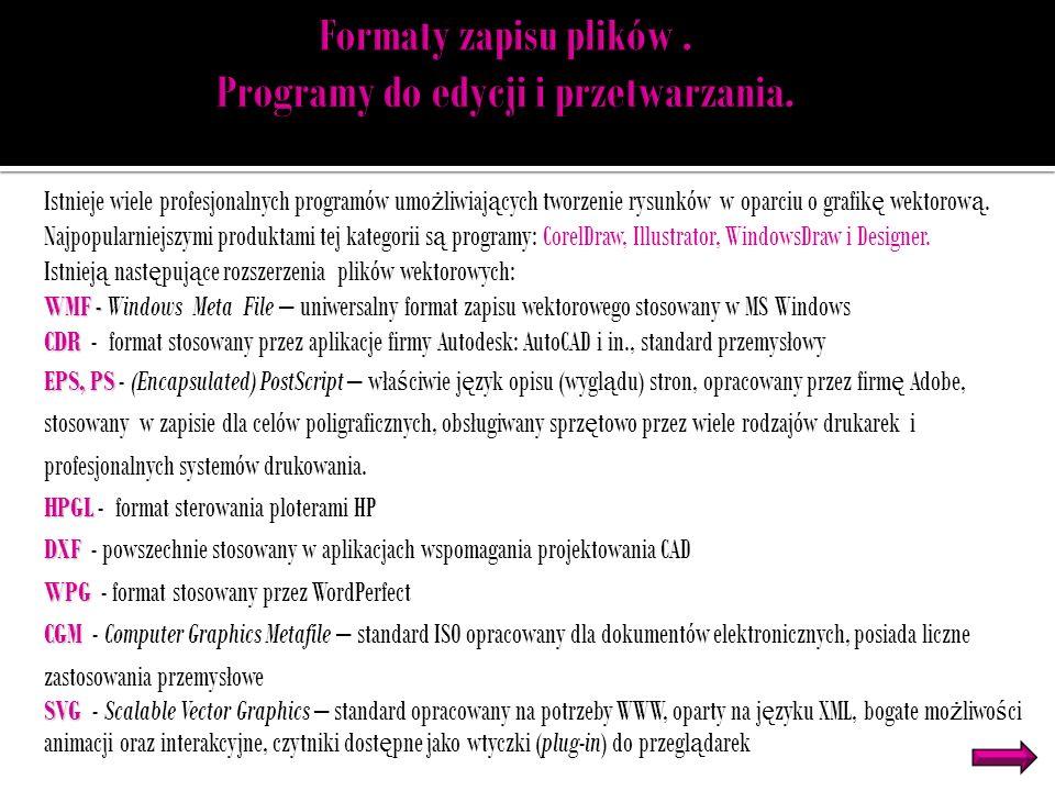 Formaty zapisu plików . Programy do edycji i przetwarzania.
