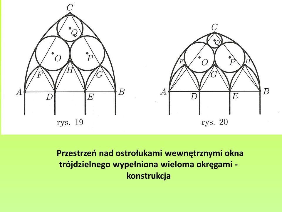 Przestrzeń nad ostrołukami wewnętrznymi okna trójdzielnego wypełniona wieloma okręgami - konstrukcja