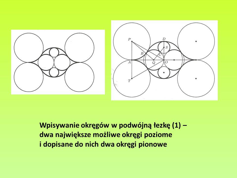 Wpisywanie okręgów w podwójną łezkę (1) – dwa największe możliwe okręgi poziome i dopisane do nich dwa okręgi pionowe