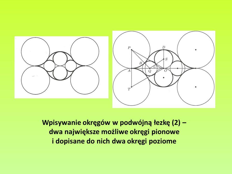 Wpisywanie okręgów w podwójną łezkę (2) – dwa największe możliwe okręgi pionowe i dopisane do nich dwa okręgi poziome