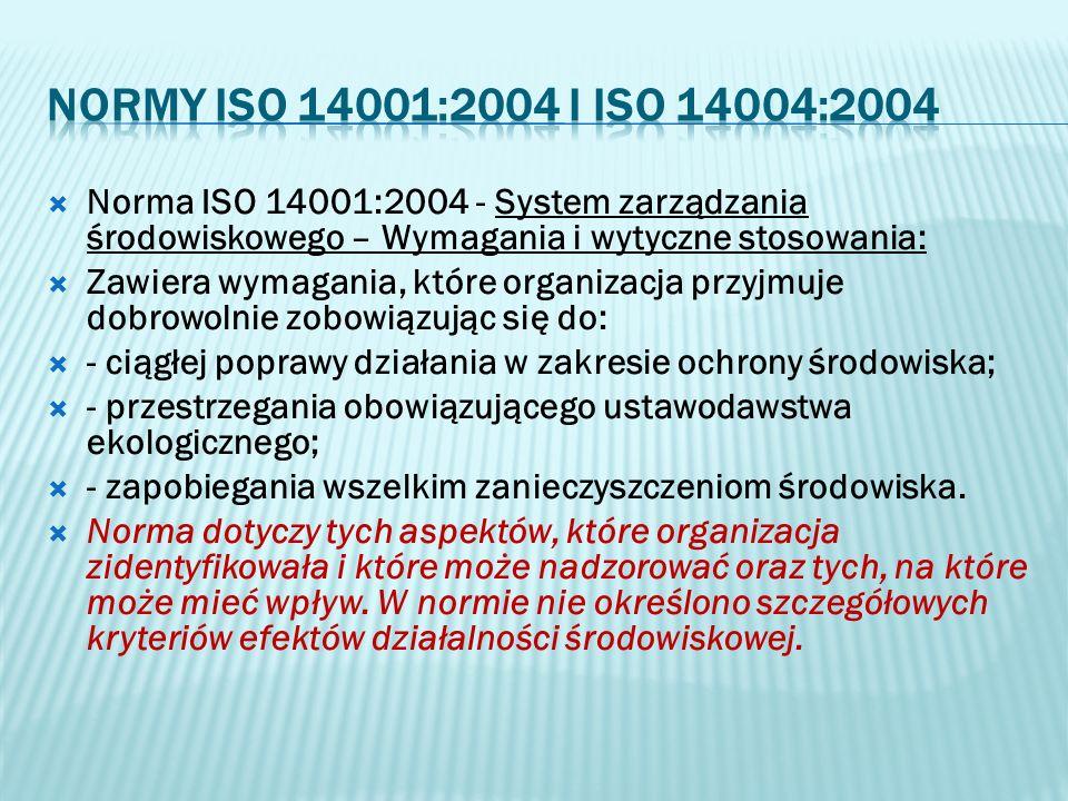 normy ISO 14001:2004 i ISO 14004:2004 Norma ISO 14001:2004 - System zarządzania środowiskowego – Wymagania i wytyczne stosowania: