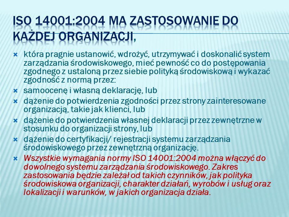 ISO 14001:2004 ma zastosowanie do każdej organizacji,