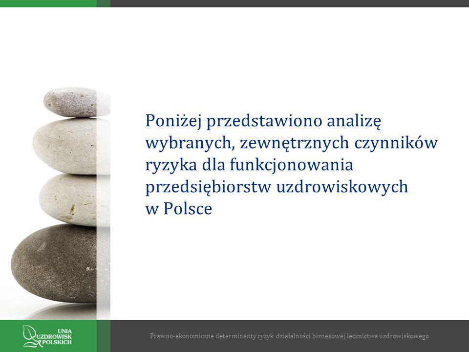 Poniżej przedstawiono analizę wybranych, zewnętrznych czynników ryzyka dla funkcjonowania przedsiębiorstw uzdrowiskowych w Polsce