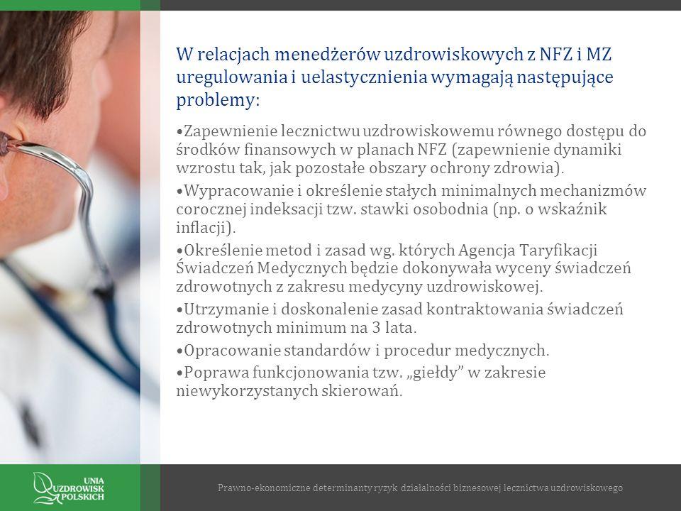 W relacjach menedżerów uzdrowiskowych z NFZ i MZ uregulowania i uelastycznienia wymagają następujące problemy: