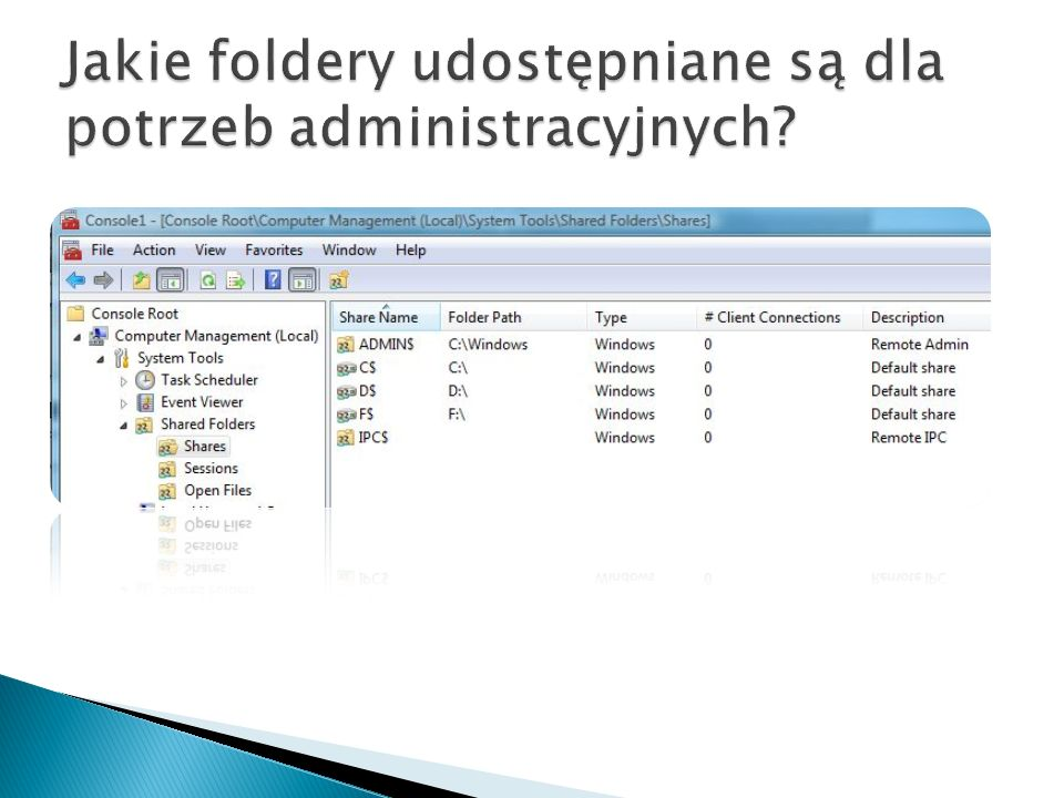 Jakie foldery udostępniane są dla potrzeb administracyjnych
