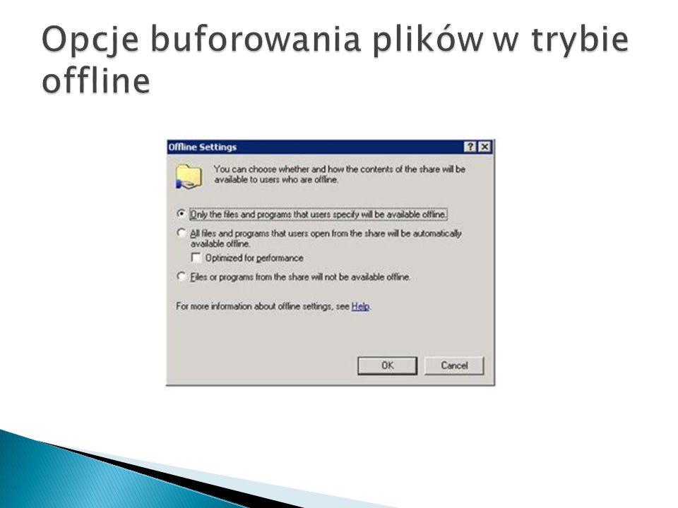 Opcje buforowania plików w trybie offline