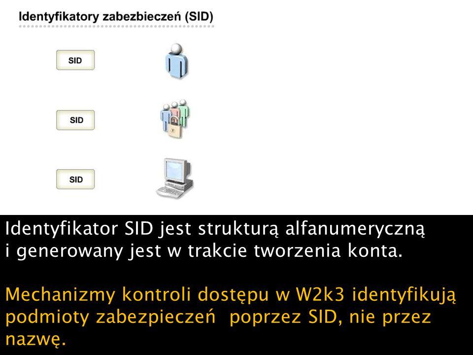 Identyfikator SID jest strukturą alfanumeryczną