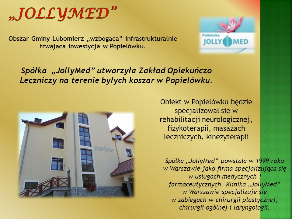 """""""Jollymed Obszar Gminy Lubomierz """"wzbogaca infrastrukturalnie. trwająca inwestycja w Popielówku."""