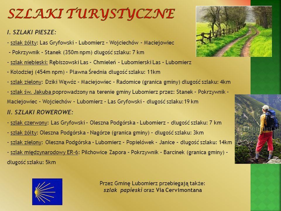 Szlaki turystyczne I. SZLAKI PIESZE: - szlak żółty: Las Gryfowski – Lubomierz – Wojciechów – Maciejowiec.