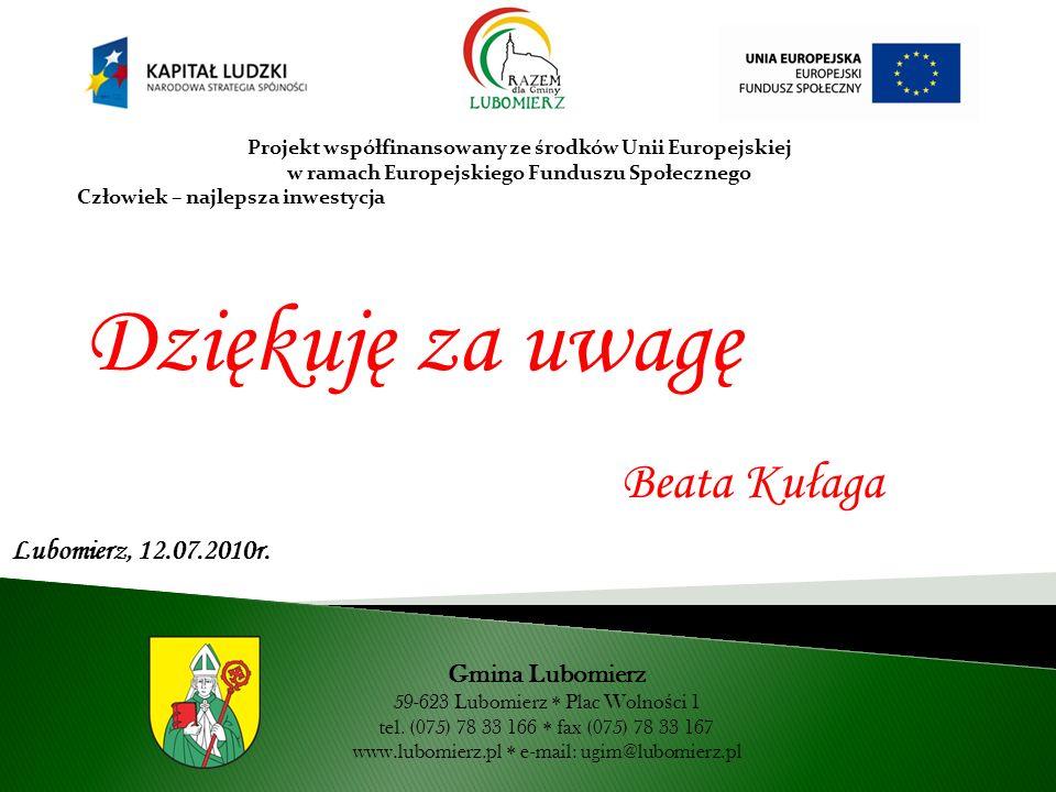 Dziękuję za uwagę Beata Kułaga Lubomierz, 12.07.2010r. Gmina Lubomierz