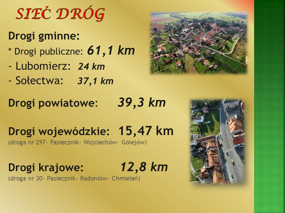 Sieć dróg Drogi gminne: - Lubomierz: 24 km - Sołectwa: 37,1 km