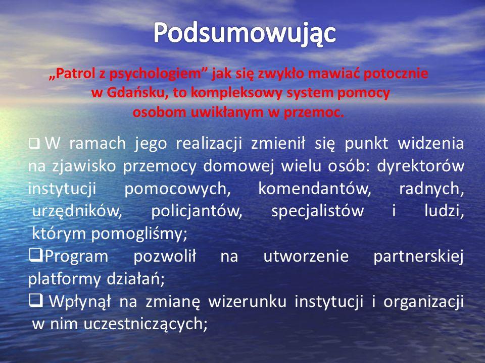 """Podsumowując """"Patrol z psychologiem jak się zwykło mawiać potocznie w Gdańsku, to kompleksowy system pomocy osobom uwikłanym w przemoc."""