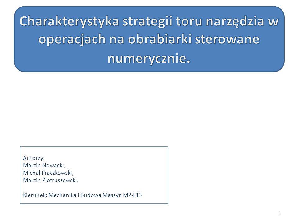 Charakterystyka strategii toru narzędzia w operacjach na obrabiarki sterowane numerycznie.